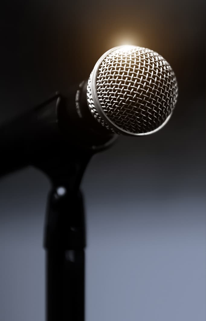 microphone at Laconia town hall