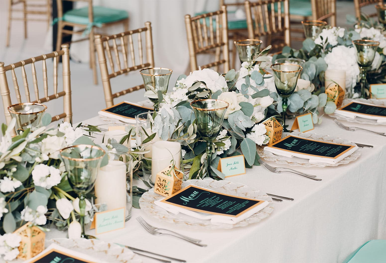 Table set for a wedding with menus